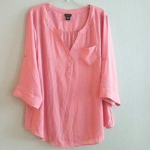 2X Torrid Pink Popover Top
